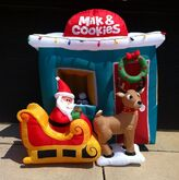 Gemmy Inflatable Sample Prototype Outdoor Santa Milk Cookies Stand