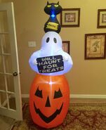 Gemmy Prototype Halloween Pumpkin Ghost Cat Inflatable Airblown