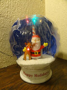 Gemmy Airblown Inflatable Snowglobe Rudolph Red Nosed Reindeer Santa Claus Music