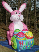 RARE Gemmy 8' Lighted Easter Bunny Rabbit wEgg Cart Airblown Inflatable Blow-up