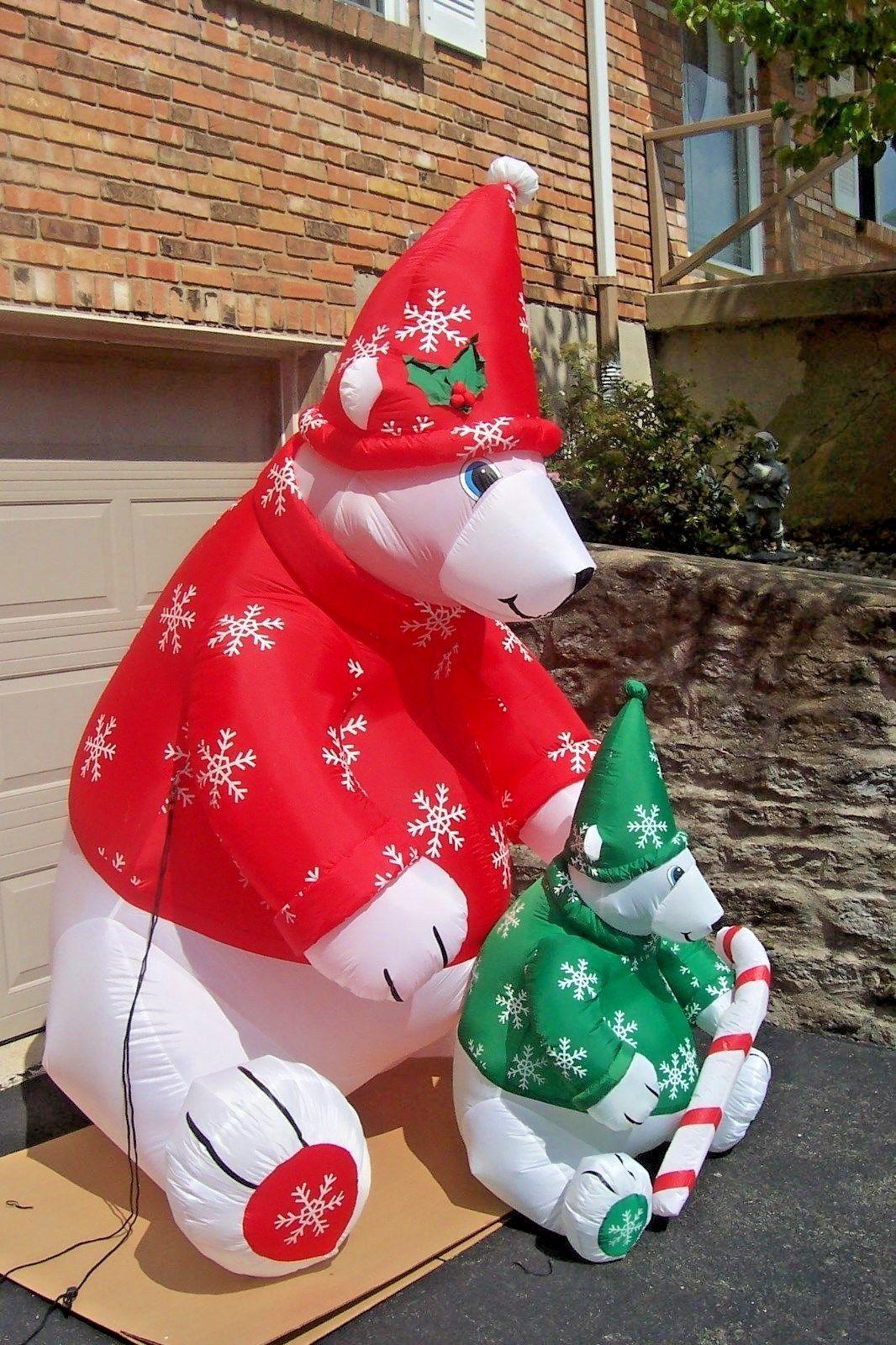 gemmy 8 ft polar bear and cub airblown inflatable christmas yard decor w box htf 2jpg - Polar Bear Inflatable Christmas Decorations
