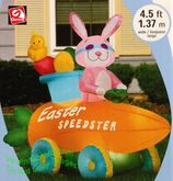 Easter bunny speedster carrot car gemmy airblown inflatable 46532 box