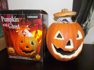 Gemmy Halloween Animated Pumpkin with Ghost In Original Box