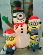 Gemmy Prototype Christmas Inflatable Minions Building Snowman