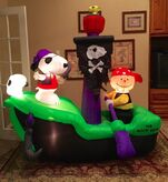 Gemmy Prototype Halloween Snoopy Pirate Ship Inflatable Airblown