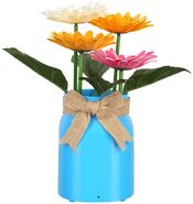 Animated Dancing Flowers - Frosted Blue Glass