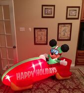 Gemmy Prototype Christmas Mickey Mouse on Bob Sled Inflatable Airblown