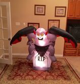 Gemmy Prototype Halloween Gargoyle on Tombstone Inflatable Airblown