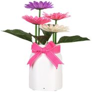 Animated Dancing Flowers - Frosted White Glass