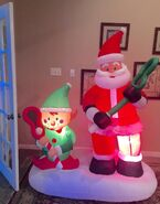 Gemmy Prototype Santa and Elf Lacrosse Inflatable Airblown