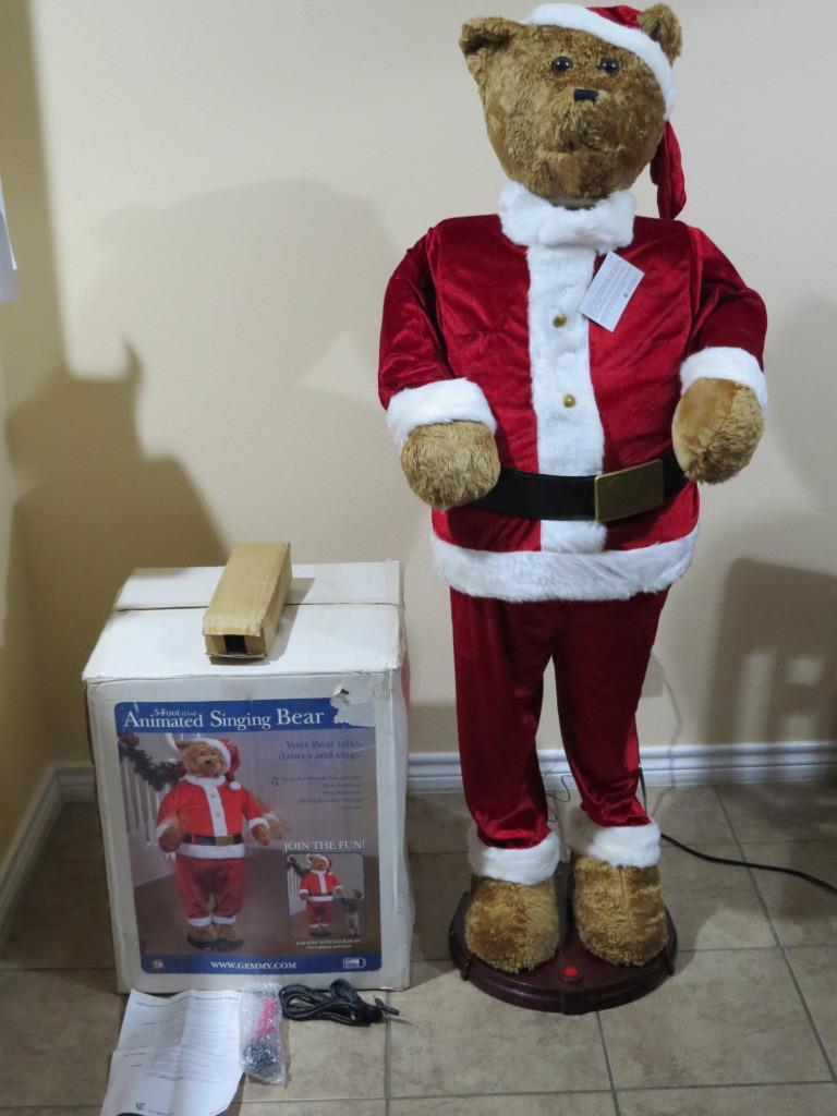 Image - Animated Gemmy Christmas Santa Bear 5 ft Karaoke Singing w ...