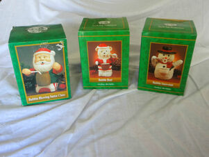 Gemmy bubble blowing santa snowman and bear