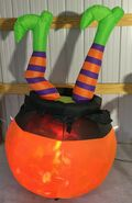Gemmy Prototype Halloween Inflatable Legs In Cauldron