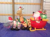Gemmy inflatable santa sleigh ride with zoo animals