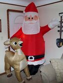 CHRISTMAS Airblown Inflatable ''SANTA & RUDOLPH'' Yard Decor HUGE 8 FT TALL!! 2