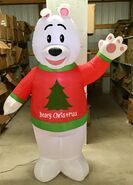 6ft Gemmy Airblown Inflatable Christmas Polar Bear Wearing Sweater Prototype