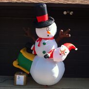 Gemmy Inflatable Sample Prototype Outdoor Snowman Crashed Santa