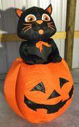 Gemmy Prototype Halloween Inflatable Pop-Up Cat In Pumpkin 1