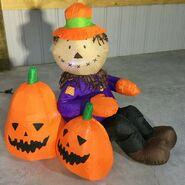 Gemmy Prototype Halloween Inflatable Scarecrow With Pumpkins