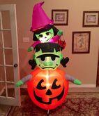 Gemmy Prototype Halloween Witch and Frankenstein on Pumpkin Inflatable Airblown