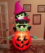 Gemmy Prototype Halloween Witch and Frankenstein on Pumpkin Inflatable Airblown