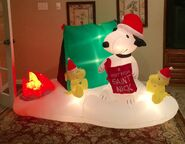 Gemmy Prototype Christmas Snoopy Camping Scene Inflatable Airblown