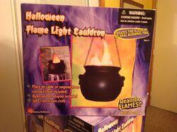 Rare Gemmy Animated Halloween Hanging Flame Light Cauldron