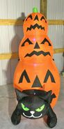 Gemmy Prototype Halloween Inflatable Cat With Stacking Pumpkins