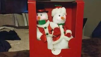 Gemmy Mr and mrs snow couple red vest with white trim variant SUPER RARE!!!!