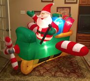 Gemmy Prototype Christmas Santa in Sled Airplane Inflatable Airblown
