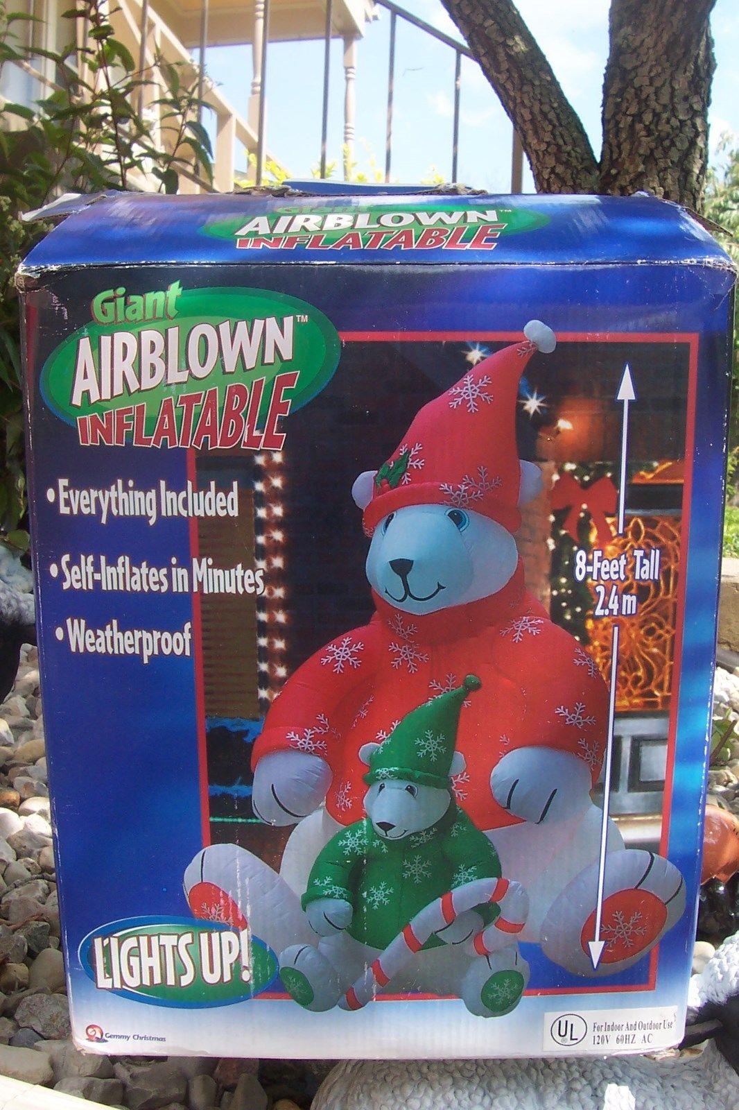 gemmy 8 ft polar bear and cub airblown inflatable christmas yard decor w box htf 4jpg - Polar Bear Inflatable Christmas Decorations