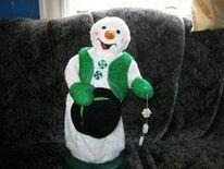 Green Peppermint Spinning Snowman