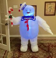 Gemmy Prototype Christmas Stay Puft Marshmallow Man with Candy Cane Inflatable Airblown