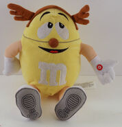 Gemmy Yellow M&M Plush Man w Antlers Moves & Sings Up on the Housetop