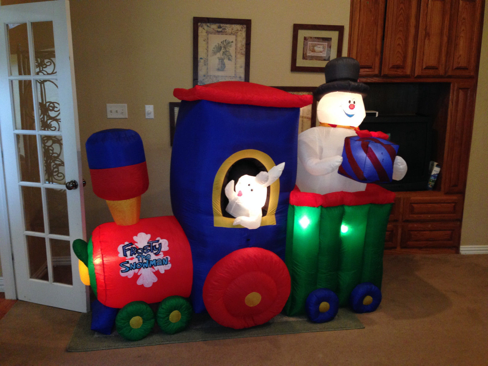 gemmy animated inflatable frosty the snowman christmas trainjpg