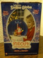 Gemmy Airblown Inflatable Snowglobe Rudolph Red Nosed Reindeer Santa Claus Music 7