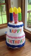 2004 4ft gemmy airblown inflatable Happy birthday cake with candels