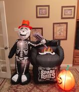 Gemmy Prototype Halloween Skeleton Spare Ribs Inflatable Airblown