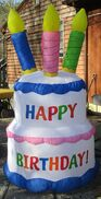 2004 Gemmy Airblown Inflatable Happy Birthday Cake w Candles 7 Ft Tall