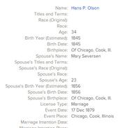 Olson Seversen 1879 marriage