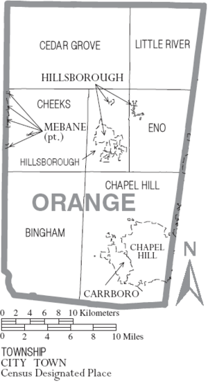 Map of Orange County North Carolina With Municipal and Township Labels