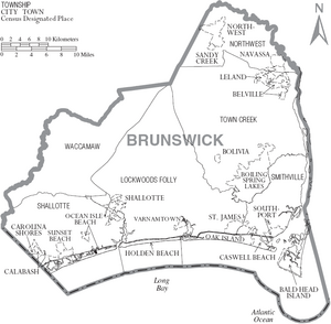 Map of Brunswick County North Carolina With Municipal and Township Labels