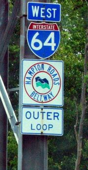 I-64 sign, Hampton Roads