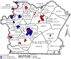 Map of Fayette County Pennsylvania With Municipal and Township Labels