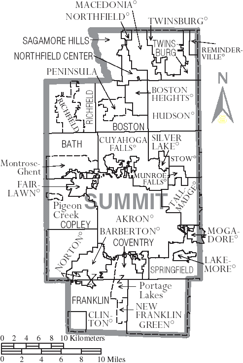 Summit County Zip Code Map.Image Map Of Summit County Ohio With Municipal And Township Labels