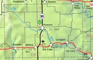 Map of Elk Co, Ks, USA