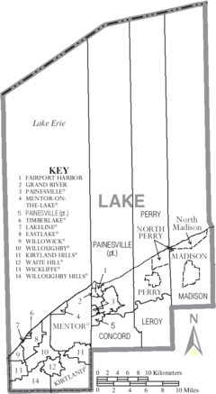 Map of Lake County Ohio With Municipal and Township Labels