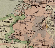 Duchy of Brabant and Prince-Bishopric of Liège in 1477