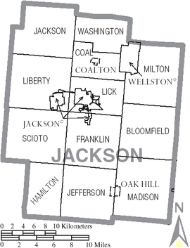 Map of Jackson County Ohio With Municipal and Township Labels