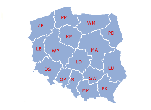 Poland administrative division 1999 literki
